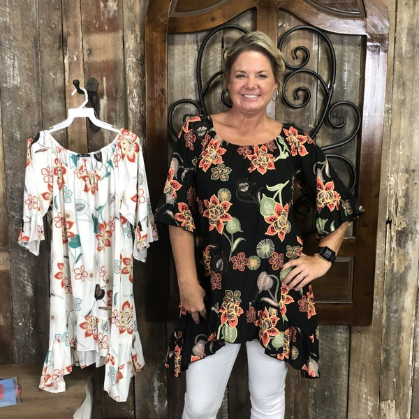 Floral Print On/Off Shoulder Tunic with Ruffled Hem and Bell Sleeves