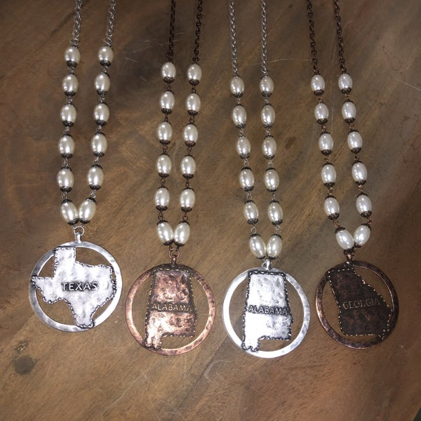 """Rustic State Map Pearl 30"""" Necklace(GA2)"""