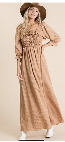 On/Off Shoulder Dark Sand Maxi Dress with Shirred Bodice and Ruffled Neckline (GA2)