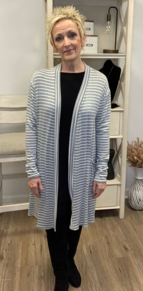 Boutique Item: Grey/White Striped Long Sleeve Cardigan with Front Pockets MJB (L)