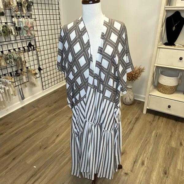 Boutique item: Stripe Plaid Mixed Printed Crepe Maxi Kimono
