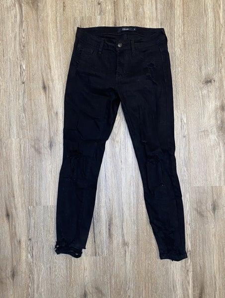 Boutique Item: Black Mid Rise Cropped Cutout Destroy Skinny Jeans MJB (L)