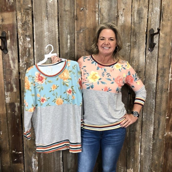 Floral Print/Grey Two Toned Top with Contrasting Striped Trim (GA2)