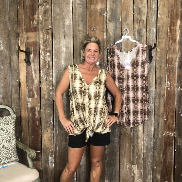 Plus Snakeskin  Sleeveless Button Front Top with V-Neck and High/Low Hem  (GA2)