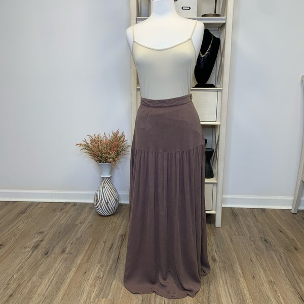 Boutique Item:  Lined Cocoa Ankle Length Skirt w/Side Zipper and Button