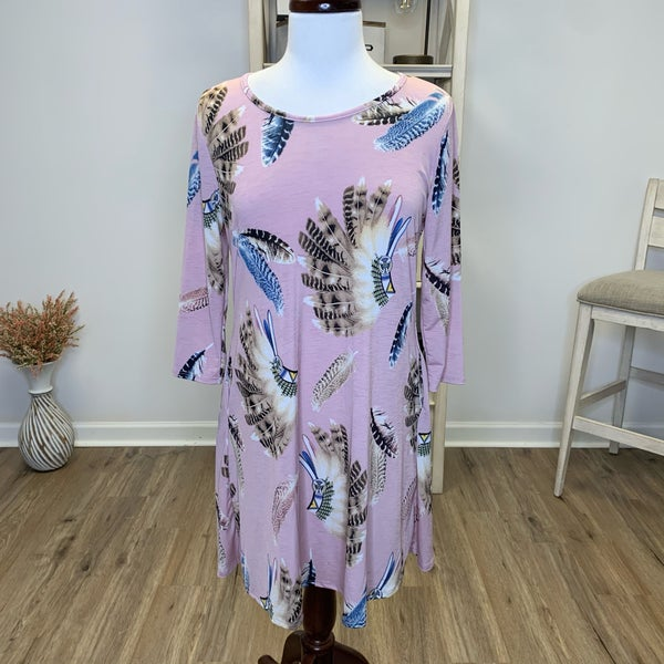 Blush Feather Printed Tunic/Dress w/Pockets