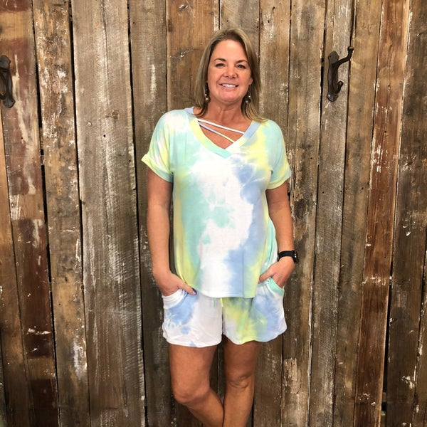 Blue/Green Tie Dye Short Set with Strappy V-Neck and Pockets (GA2)