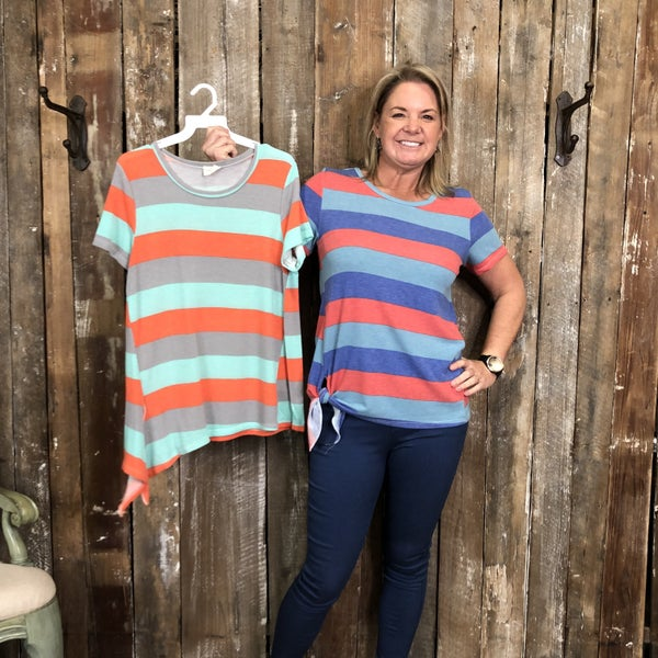Striped Short Sleeve Top with Side Tie Hem (GA2)