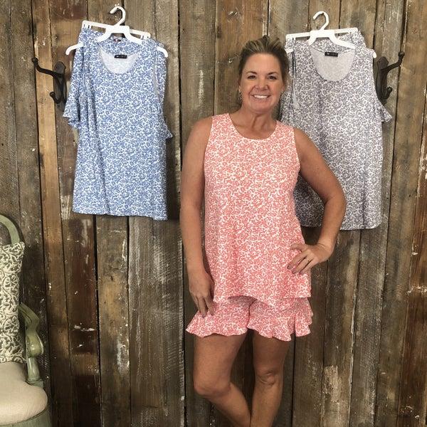 Floral Print Sleeveless Top/Shorts Set (GA2)
