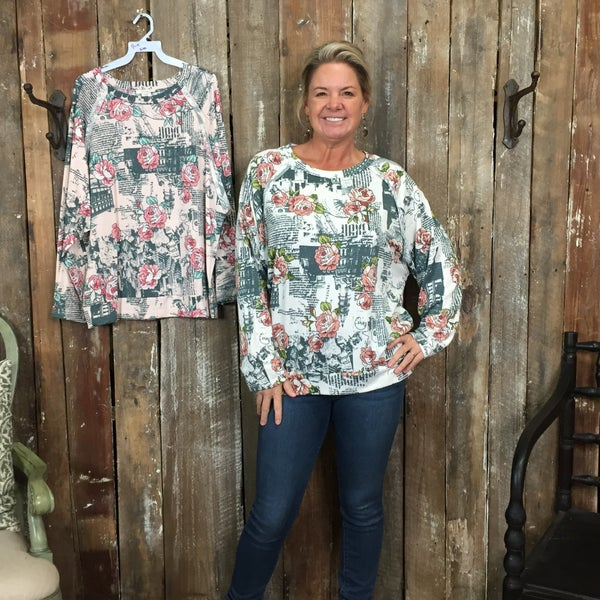 Cursive Lettering/Floral Print Long Sleeve Top with Cut Edge Seam Shoulder Panel (GA1)