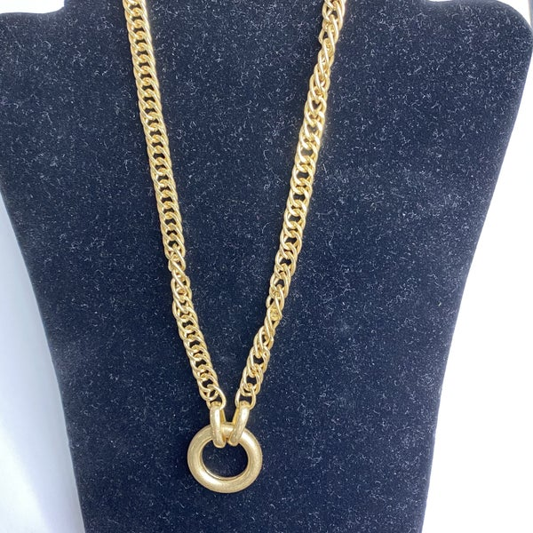 Gold Short Necklace with Open Circle Pendant