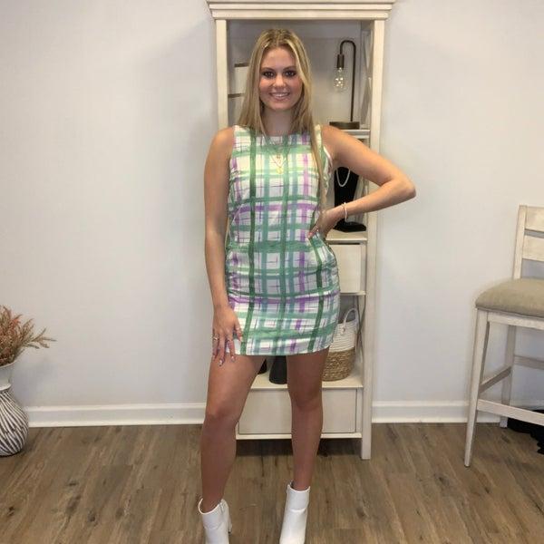 Boutique Item Lined Green/Purple Plaid Sleeveless Dress w/ Pockets MJB