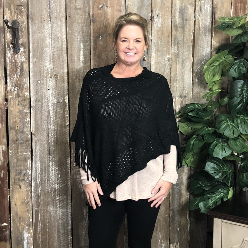 Black Knit Shawl with Square Pattern and Fringe (GA2)