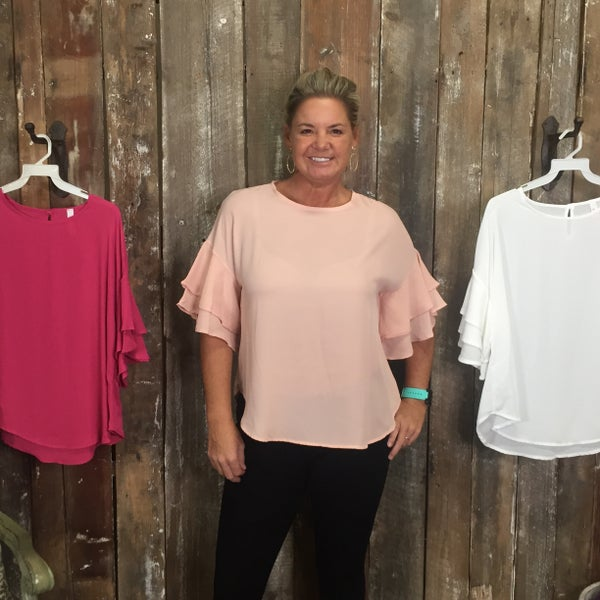 Solid Round Neck Top with Double Ruffle Short Sleeves and Keyhole Back (GA2)