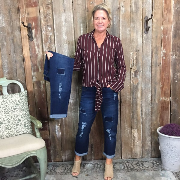 Stretch Denim Boyfriend Jeans with Washed Effect, Patch Rips, and Rolled Cuffs (GA2)