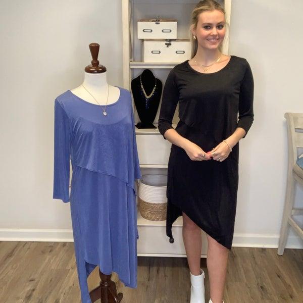3/4 Sleeve Dress w/ Front Overlay and Asymmetrical Hem