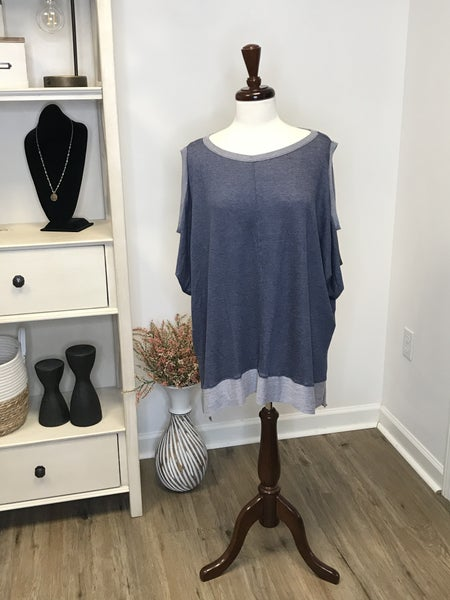Plus Blue Cold Shoulder High Low Tunic with Contrasting Trim MJB