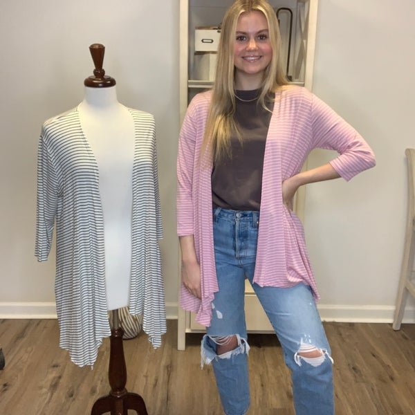 Striped 3/4 Sleeve Cardigan with Pockets