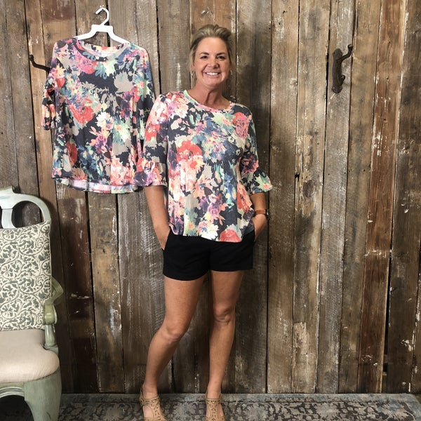 Multi Colored Floral Print Top with Ruffle Sleeves (GA2)