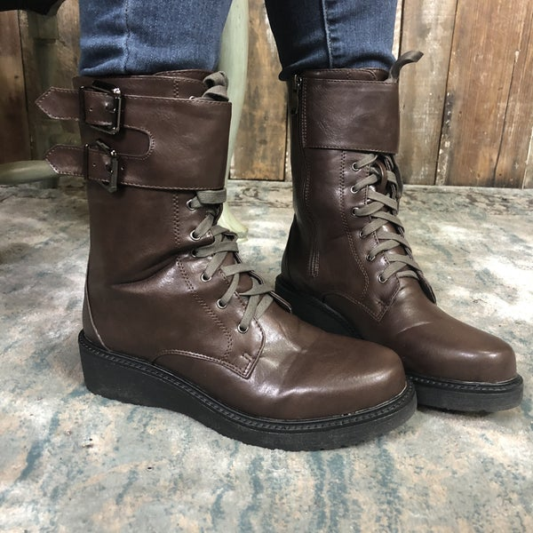 Solid Brown Mid Calf Boots with Side Buckles and Laces (GA2)