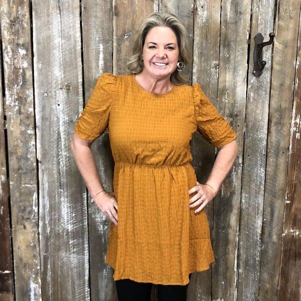Dark Mustard textured Short Sleeve Dress/Tunic, Fully Lined (GA2)