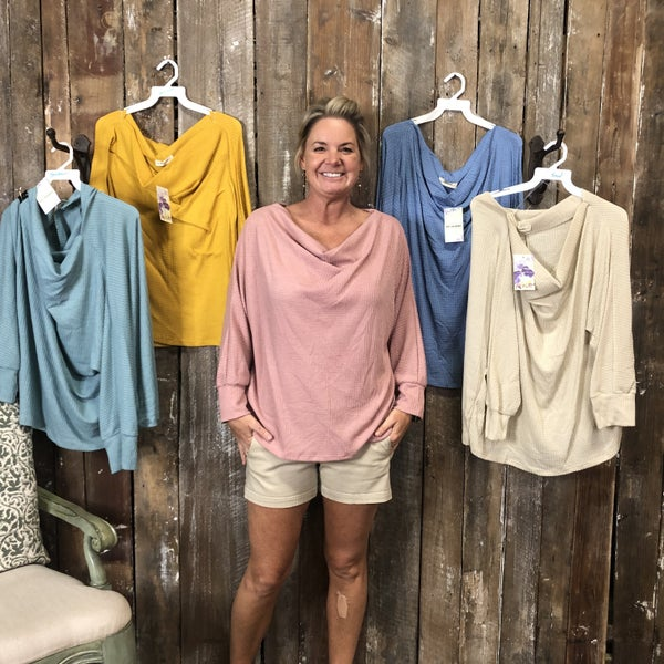 Plus Waffle Knit Top with Draped Boat Neck (GA2)