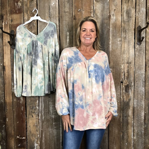 Tie Dye Top with V-Neck/Back with Elastic Cuffed Sleeves (GA2)