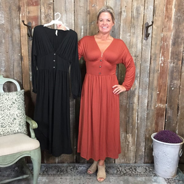 Solid Long Sleeve Midi Length Dress with V-Neck/Button Front Detail(GA2)