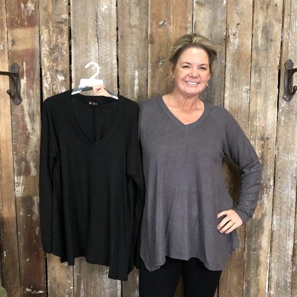 Solid V-Neck Top/Sweater with Handkerchief Hem (GA2)