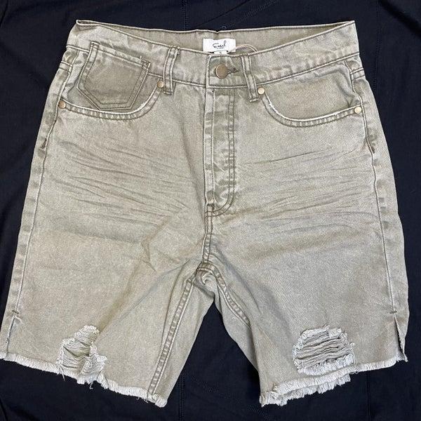 Boutique Item Easel Olive Grey Distressed Denim Button Up Shorts