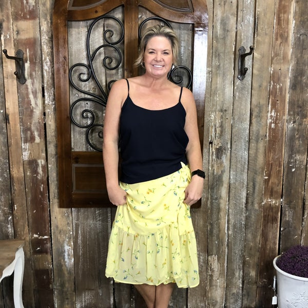 Yellow Floral Print Wrap Skirt (GA2)
