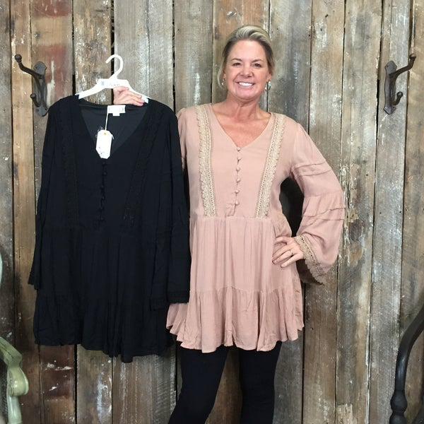 Solid Long Sleeve Top/Tunic with Button Front/Crochet Detail(GA2)