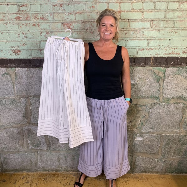Striped Palazzo Pants with Tie-able Elastic Waist, Fully Lined (GA2)