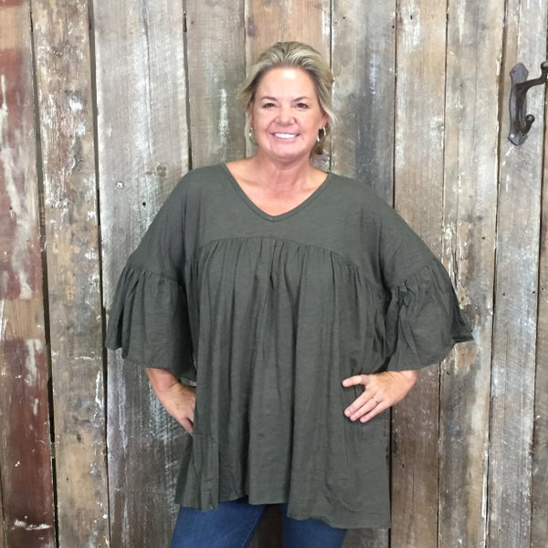 Olive Oversized Pleated Front Top with Bell Sleeves (GA2)