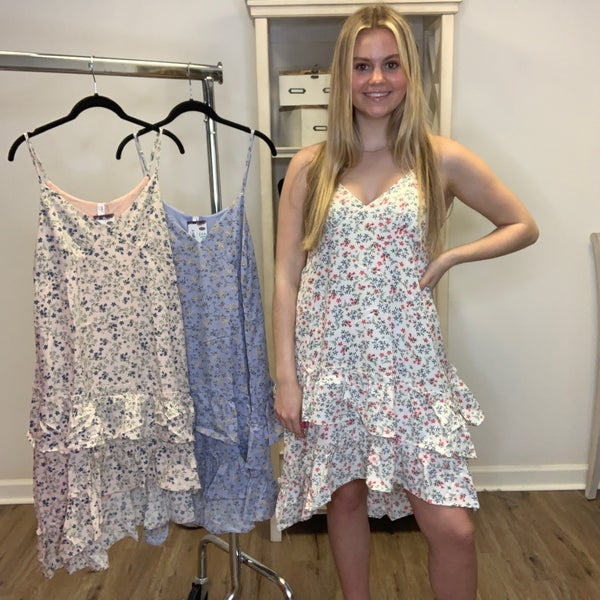 Boutique Item: Fully Lined Floral Print Adjustable Spaghetti Strap Dress w/ Ruffles