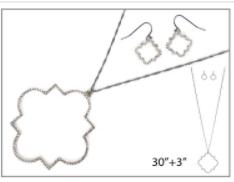 Pave Quatrefoil Necklace Set