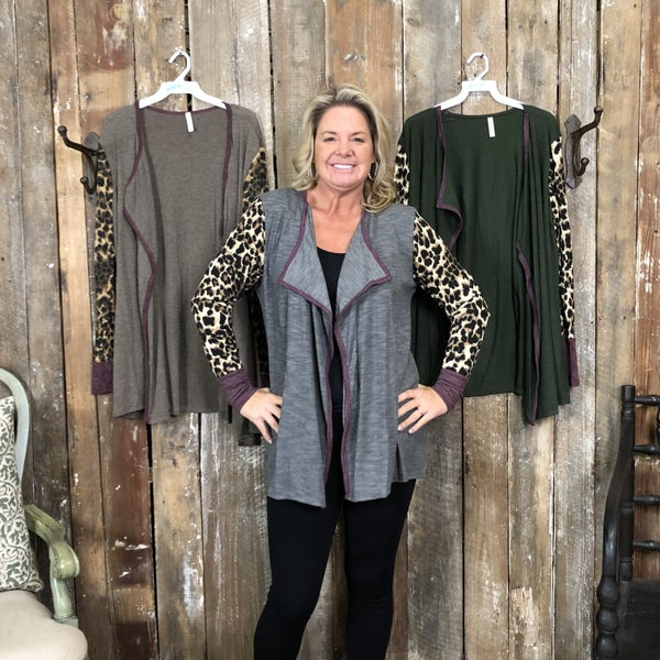 Solid Lapel Front Cardigan with Contrasting Animal Print Sleeves and Plum Trim (GA2)