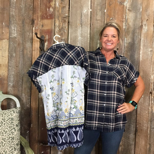 Navy Plaid Button Up Short Sleeve Top with Contrasting Floral Print Back (GA2)