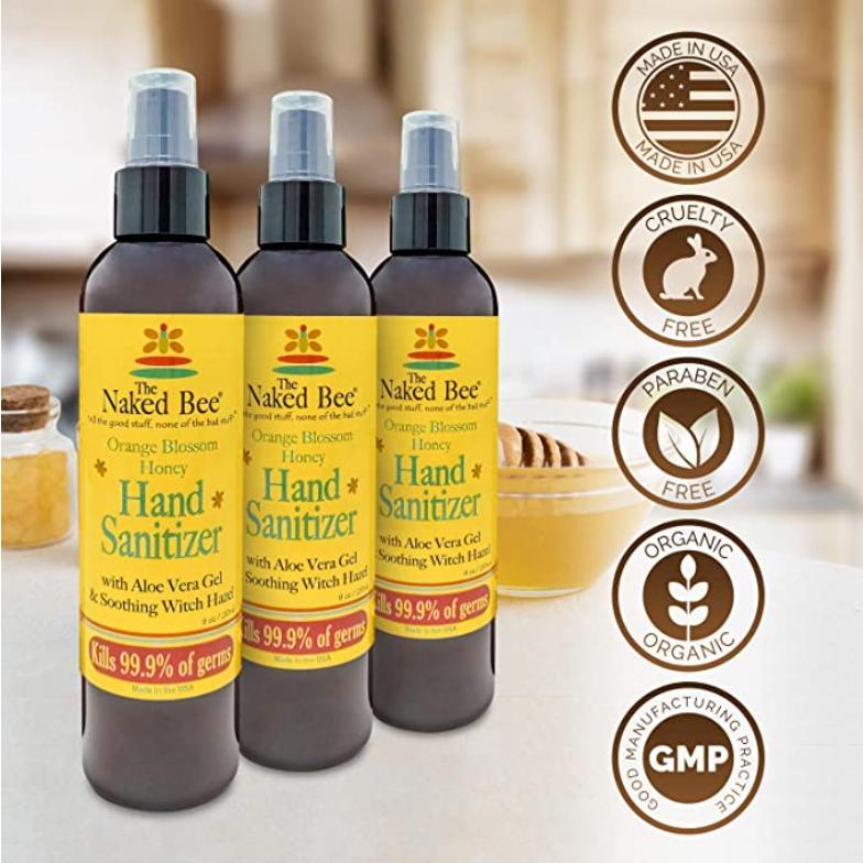 The Naked Bee Hand Sanitizer - Orange Blossom Honey Pump 8oz - Orange Blossom Honey Hand Sanitizer (1 Pack)