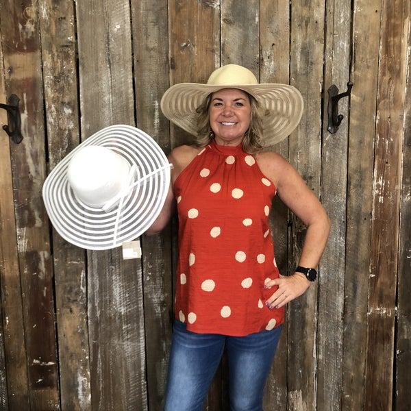 Mesh Stripe Bow Summer Floppy Hat
