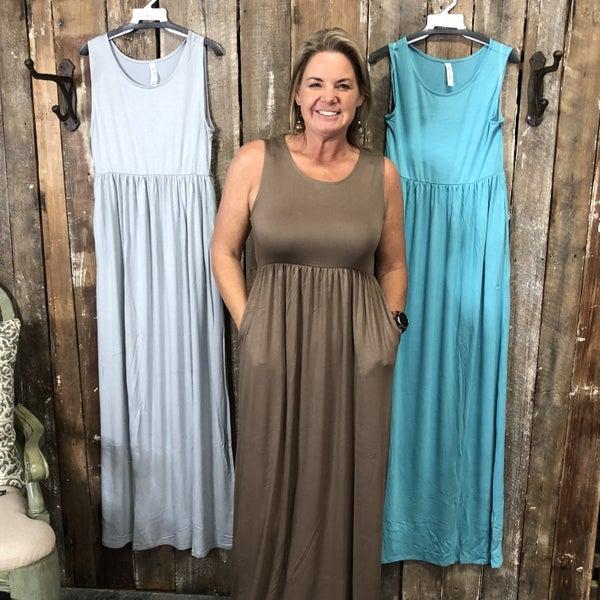 Viscose Sleeveless Maxi Dress with Shirred Waist and Pockets (GA2)