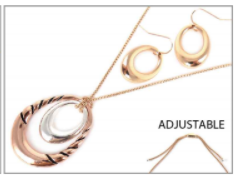 Gold Necklace with Rose Gold and Silver Double Pendant with Earrings