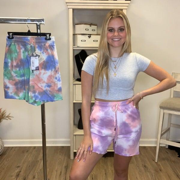 Boutique Item Easel Splash Dye Terry High Waisted Knit Shorts MJB