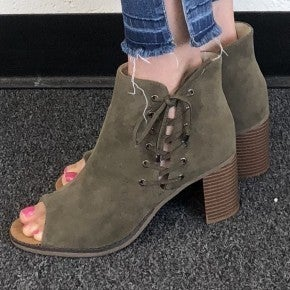 Olive Suede Boots with Lace-Up Grommet Ties and Inside Zipper -  Read Details!
