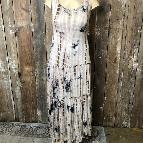 Brown/Cream Tie Dye Sleeveless Maxi Dress(GA2)