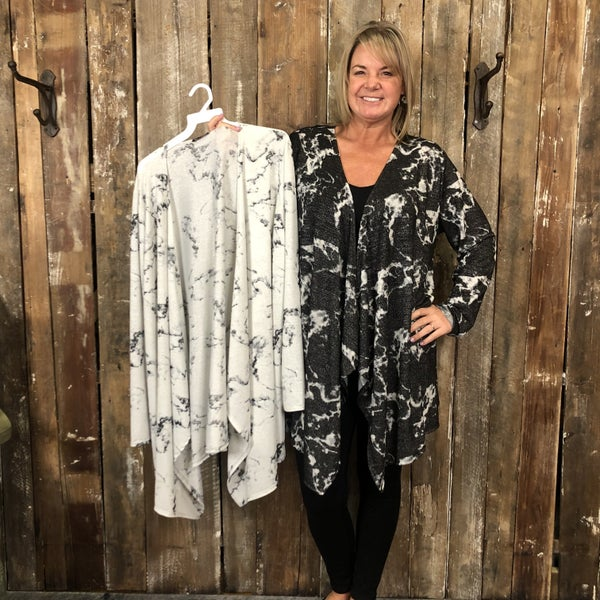 Black/White Marble Print Sparkly Waterfall Front Cardigan (GA2)