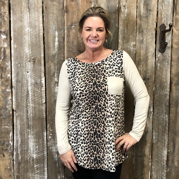 Leopard Print Top with Contrasting  Solid  Taupe Sleeves and Pocket (GA2)