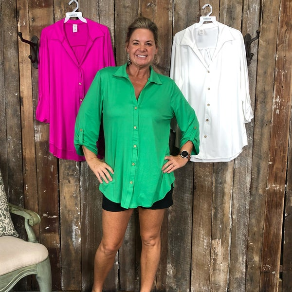 Plus Solid Button Front Collard Top with Gathered Button Cuff (GA3)