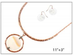 Rose Gold with Metal and Shell Pendant Necklace Set