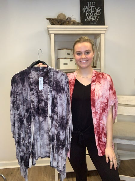 Tie Dye Kimono With Side Fringe and Front Pockets